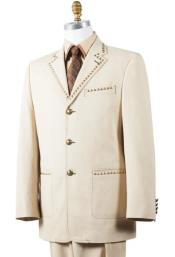 - Beige - Tan Fashion Tuxedo - Wedding Suit - Prom