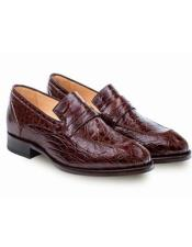 Mens Genuine Crocodile Brown Classic Mens Stylish Dress Loafer