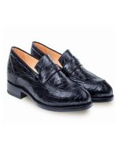 Mens Genuine Crocodile Black Classic Mens Stylish Dress Loafer