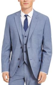 Slim Fit 2 Button Light Blue - Steel Blue - Wool Wedding