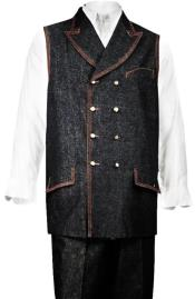 Denim Double Breasted Vest + Denim Jean Black - Mens Denim 2