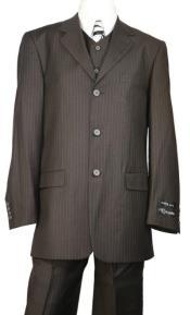 Dark Chocolate Stripe  3 Button Suit