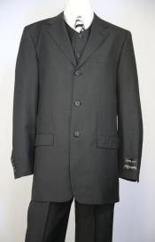Button Fastener Flap Front Pockets 3 Button Suit