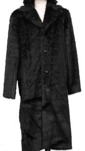 Faux Fur Overcoat - Long Top Coat Full length Coat Black