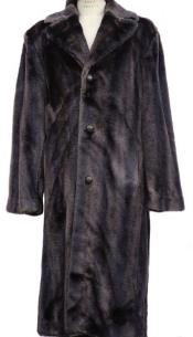 Faux Fur Overcoat - Long Top Coat Full length Coat Brown