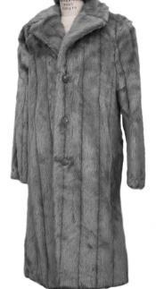 Faux Fur Overcoat - Long Top Coat Full length Coat Grey