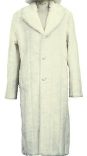 Faux Fur Overcoat - Long Top Coat Full length Coat Off-White