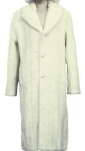 Faux Fur Overcoat - Long Top Coat Full length Coat Off-White