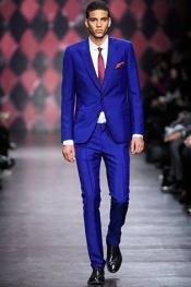 Mens Electric Blue 2 Buttons Suit