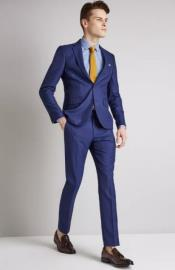 Electric Blue Two-button jacket fastening Suit