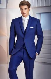 Electric Blue Peaked Lapel Three-piece Suit