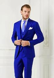 Electric Blue Two Flap Front Pockets Suit