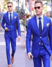 Mens Electric Blue Cotton Blend Peak Lapel Suit