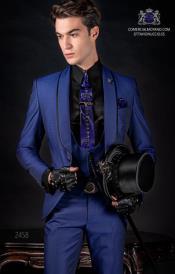 Mens Electric Blue Shawl Lapel 2 Buttons Suit