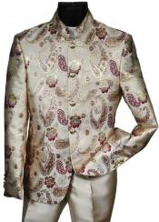 With Burgundy Pattern Mandarin Banded Collar Paisley Suit - IvoryOff White