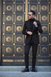 Suit Wool Fabric + Free Turtleneck Sweater Package Black