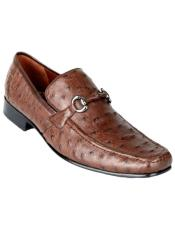 Brown Genuine Ostrich Slip On By Los Altos