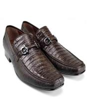Brown Genuine Caiman Belly and Lizard Stylish Dress Loafer By Los