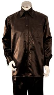 Mens Brown Point Collar Walking Silk Leisure Suit
