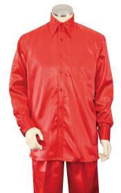 Sateen Shirt and Pants Mens Walking Suit - Silk Leisure Suit Red
