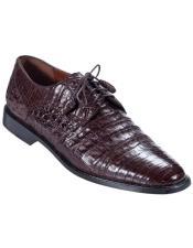 Mens Los Altos Boots Brown Genuine Caiman Oxford
