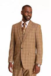 Mens Checkered Patterned Plaid Suit - Window Pane Suit Peak Lapel Suit