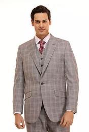 Mens Grey Window Pane Peak Lapel Suit