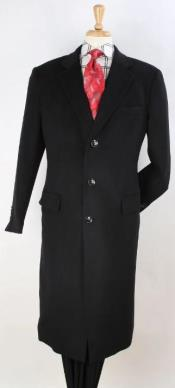 Plaid 100% Wool Overcoat - Plaid Wool Topcoat Black