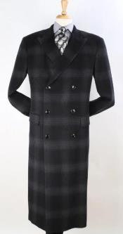 Mens Plaid 100% Wool Overcoat - Plaid Wool Topcoat Black with Grey