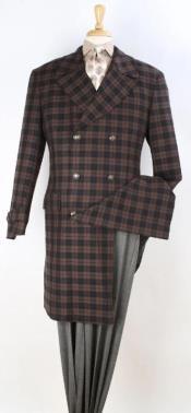 Mens Plaid 100% Wool Overcoat - Plaid Wool Topcoat Brown Windowpane