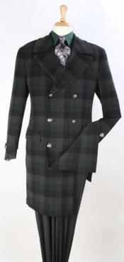 Plaid 100% Wool Overcoat - Plaid Wool Topcoat Black Windowpane