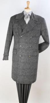Mens Plaid 100% Wool Overcoat - Plaid Wool Topcoat Grey Plaid