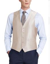 Mens Suit Vest Beige (Shark Skin)