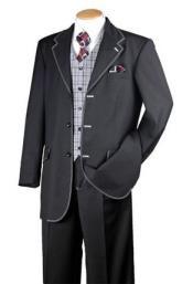 Mens Black White 1970s Style Fashion Suit