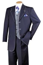Navy White 1970s Style Fashion Suit
