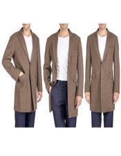 Herringbone Overcoat - Tweed Coat Three Quarter Mid Length Brown