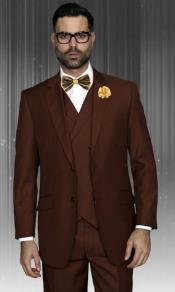 Classic Fit Suit Mens Copper 150s Wool + Double Breasted Vest Suit