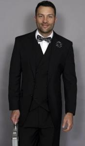 Black Regular Fit 2 Button Jacket Suit