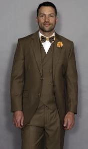 Classic Fit Suit Mens Bronze Flap Pockets Suit
