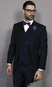 Classic Fit Suit Mens Navy Athletic Fit 100% Wool Imported Suit