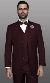 Burgundy Notch Lapel Regular Fit Suit