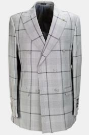 Brand: Falcone Suits Double Breasted Suits Grey Plaid Suit - Window Pane
