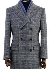 Mens Wool Glen Plaid Double Breasted Top Coat Grey