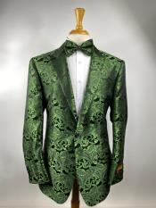 Green Paisley Tuxedo Dinner Jacket With Bow Tie - Green Blazer