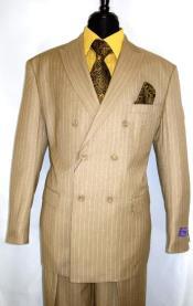 Double Breasted Peak Lapel 2 Button Suit Camel Pin Stripe