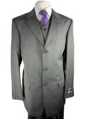 Three Buttons Charcoal ~ Almost Black Plaid Shadow Window Pane Suit With