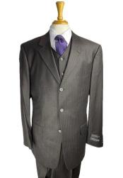 Three Buttons Brown Pinstripe - Charcoal Pinstripe Suit With Vest Three Pieces