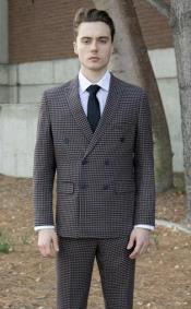 Suit Navy Blue and Tan  - Black And White Checkered