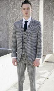 And White Checkered Suit - Gray Checkered Texture Houndstooth Suit Black