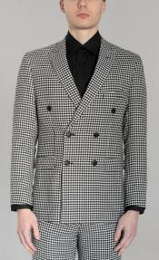 And White Checkered Suit - Gray Checkered Texture Houndstooth Six Button